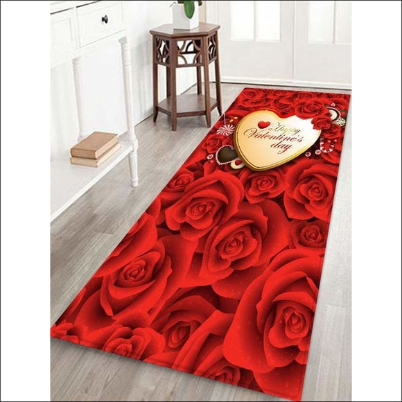 Valentine's Day, Heart Roses, Print Area Rug, - W16 X L47 Inch - AmazinTrends.com
