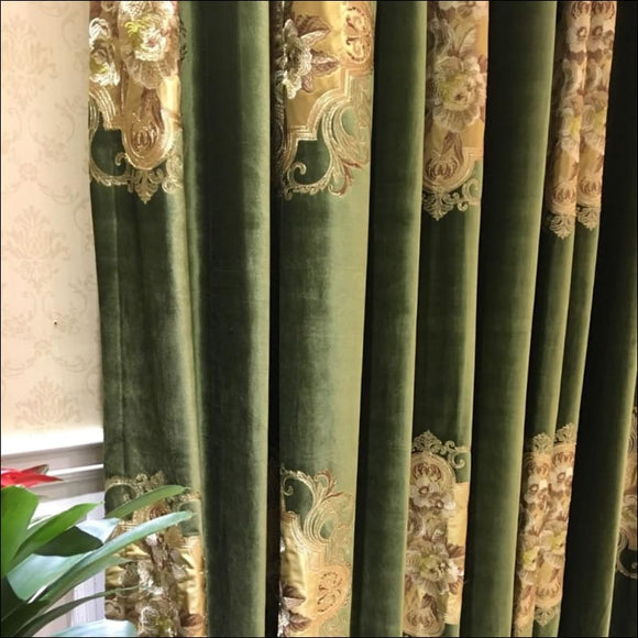 Velvet Euro Deep Green Drapery Curtain, Panels Cloth Upholstery Fabric, 280cm Wide Railroaded - AmazinTrends.com