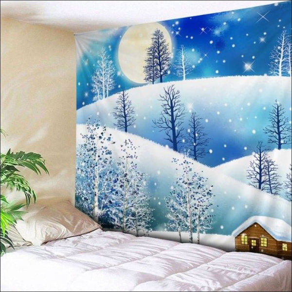 Wall Hanging Art Christmas Moon Night Print Tapestry -  W91 Inch * L71 Inch - AmazinTrends.com