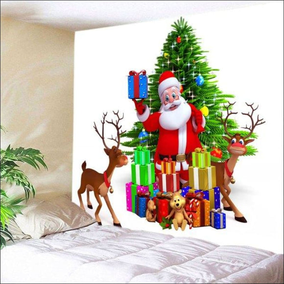 Wall Hanging Art Christmas Tree Santa Gifts Print Tapestry -  W59 Inch * L59 Inch - AmazinTrends.com