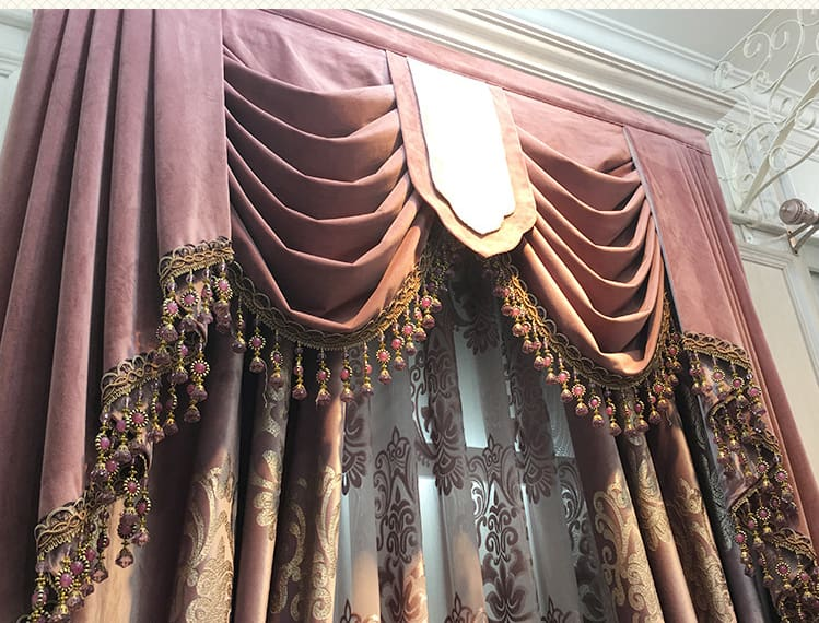 many different kinds of furniture in front of a curtain