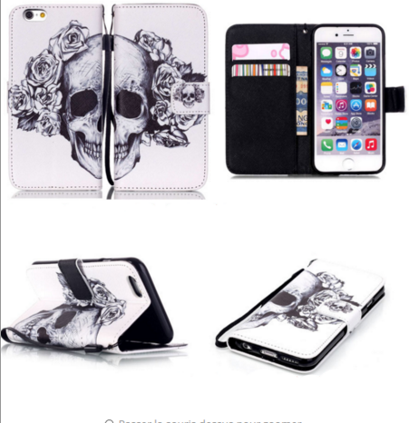 Protection type portefeuille pour iPhone, IPod, Samsung, Huawei