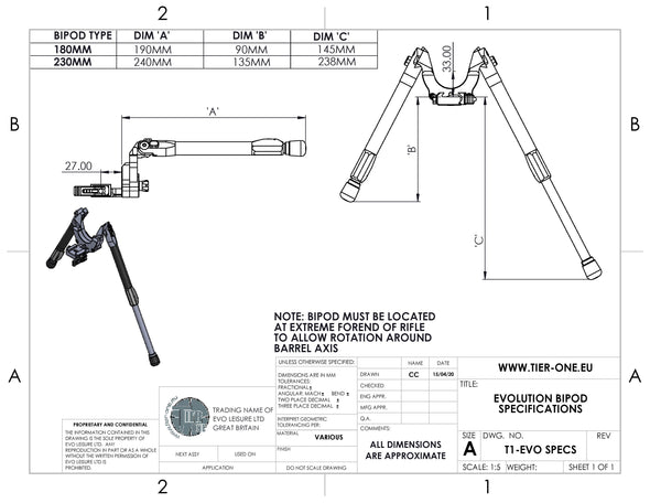 evolution bipod data sheet and sizes