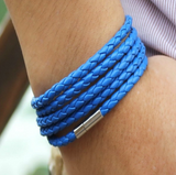 5 Circle Leather Bracelet In Blue For Men And Women-Bracelet-Help Us Beat Cancer
