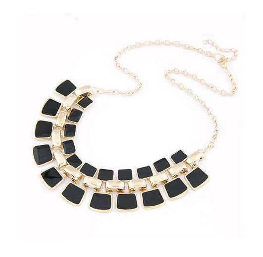 Black Enamel Long Plated Collar Necklace For Women-Necklace-Help Us Beat Cancer