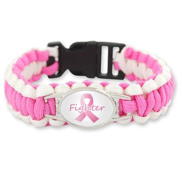 Breast Cancer Awareness Fighter Paracord Bracelet For Women-Bracelet-Help Us Beat Cancer