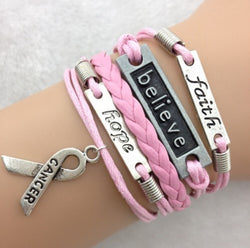 Pink Faith, Believe, Hope Breast Cancer Awareness Bracelet-Bracelet-Help Us Beat Cancer
