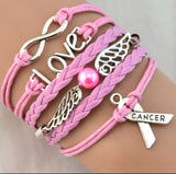Love Infinity With Angel Wings & Hearts In Pink-Bracelet-Help Us Beat Cancer