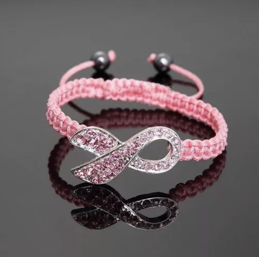 Pink Ribbon Crystal Bow Knot Bracelet Cancer Awareness-Bracelet-Help Us Beat Cancer