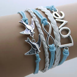 Blue Love Infinity With Love Birds Bracelet For Women-Bracelet-Help Us Beat Cancer