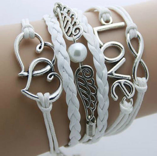 White Love Infinity With Angel Wings Bracelet-Bracelet-Help Us Beat Cancer