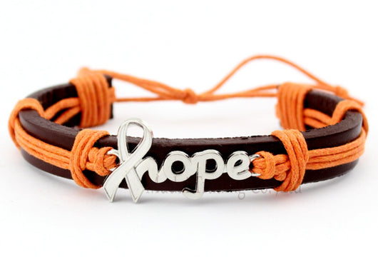 Kidney And Leukaemia Cancer Awareness Hope Leather Bracelet Men And Women-Bracelet-Help Us Beat Cancer