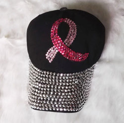 Black Denim Cancer Awareness Baseball Cap For Women-Baseball Cap-Help Us Beat Cancer