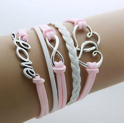 Pink Love Infinity With Hearts Bracelet-Bracelet-Help Us Beat Cancer