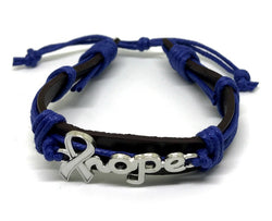 Bowel Cancer Awareness Leather Bracelet For Men And Women-Bracelet-Help Us Beat Cancer