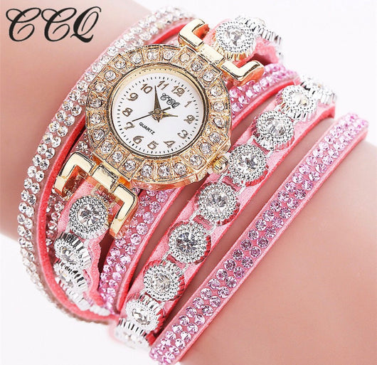 Pink Wrist Watch With Rhinestone Gems And Bracelets-Watch-Help Us Beat Cancer
