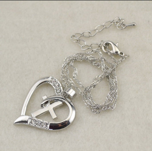 Silver Plated Heart With Cross And Rhinestone Gems-Necklace-Help Us Beat Cancer
