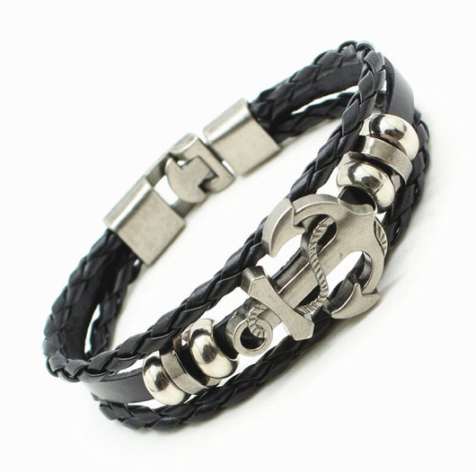Multi Layer Leather And Rope Anchor Bracelet For Men And Women-Bracelet-Help Us Beat Cancer