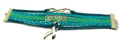 Ovarian Cancer Awareness Bracelet With Love Infinity And Cancer Ribbon Charms For Women-Bracelet-Help Us Beat Cancer