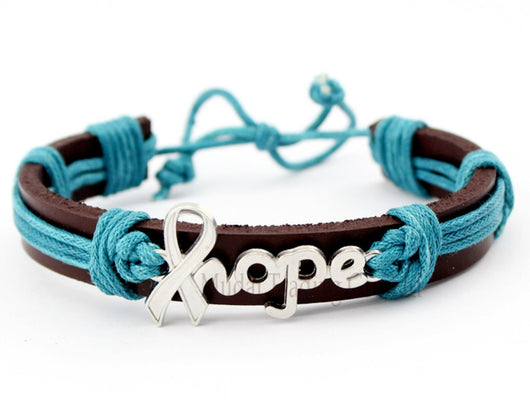 Ovarian And Cervical Cancer Hope Leather Bracelet Women-Bracelet-Help Us Beat Cancer