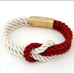 Braided Rope Red And White Unity Cancer Bracelet Men And Women-Bracelet-Help Us Beat Cancer