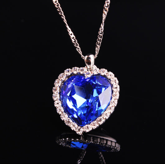 Romantic Ocean Heart With Crystal Rhinestone Gems-Necklace-Help Us Beat Cancer