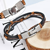 Leather Stainless Steel Fashionable Bracelet For Men And Women-Bracelet-Help Us Beat Cancer