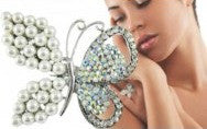 Butterfly Ring With Rhinestone Gems And Pearls-Ring-Help Us Beat Cancer