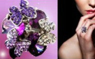 Crystal Butterfly Ring With Zirconia Amethyst Gems-Ring-Help Us Beat Cancer