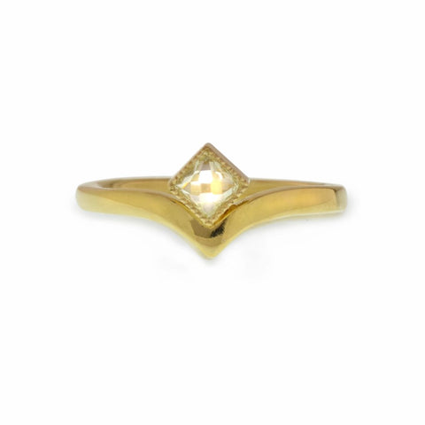 post consumer rose-nouvous recut square post consumer recycled diamond set in 18kt Fairmined yellow gold ring.