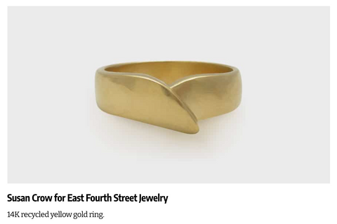 Susan Crow Jewelry's Embrace Ring in 14kt yellow gold. Highlighted in the December 2020 issue of InStore Magazine