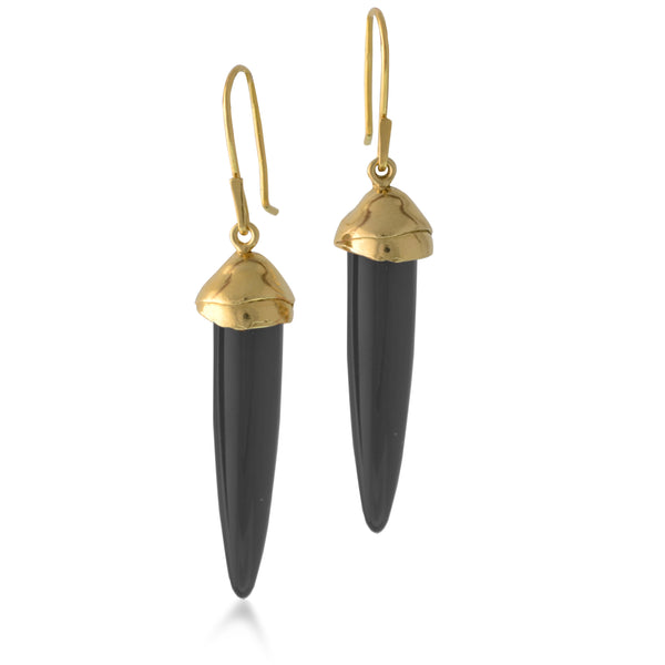 Charcoal Black Jet and Gold Earrings