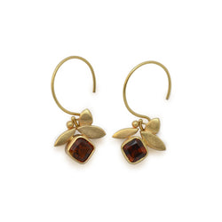 Gold & Citrine Leaf Earrings