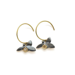 Champagne Diamond Leaf Earrings