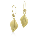 "East Fourth Street Jewelry, 18kt yellow gold earrings with Leaf design. Hand carved and cast, 1.5"" long."