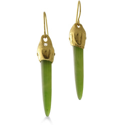East Fourth Street Jewelry by Susan Crow, Arizona Nephrite cone shaped gemstones are set in our hand carved and cast in recycled 18kt yellow gold earrings, one of a kind.