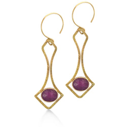 Rose Cut Ruby and 18kt Yellow Gold Handmade Christine Earrings