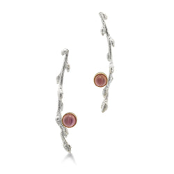 Silver Branch Earrings with Rhodolite Garnets