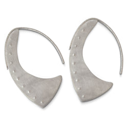 East Fourth Street Jewelry, Flat silhouette sterling silver alternative hoop earring. 1.5