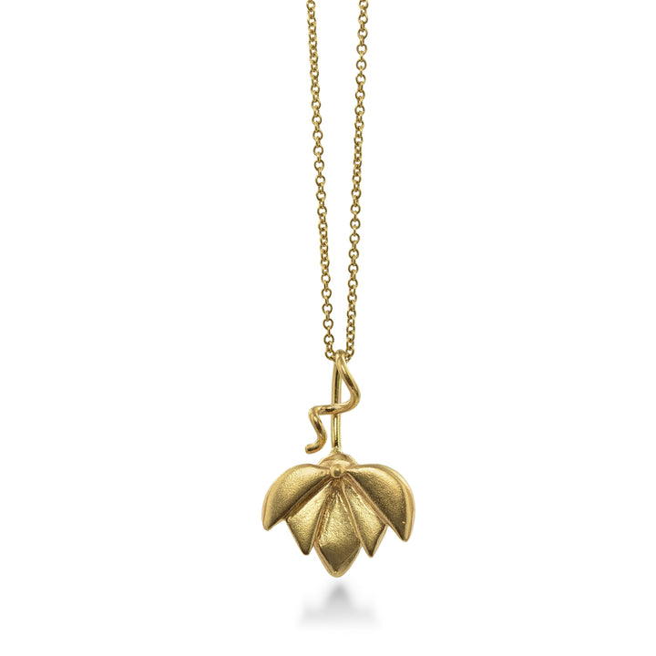 East Fourth Street Jewelry, Lotus Pendant hand carved and cast in recycled 14kt yellow gold.