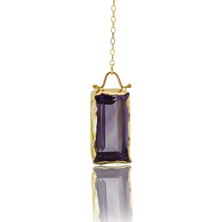 East Fourth Street Jewelry, Emerald cut Amethyst set in 14kt yellow gold. Lariat style in a 22