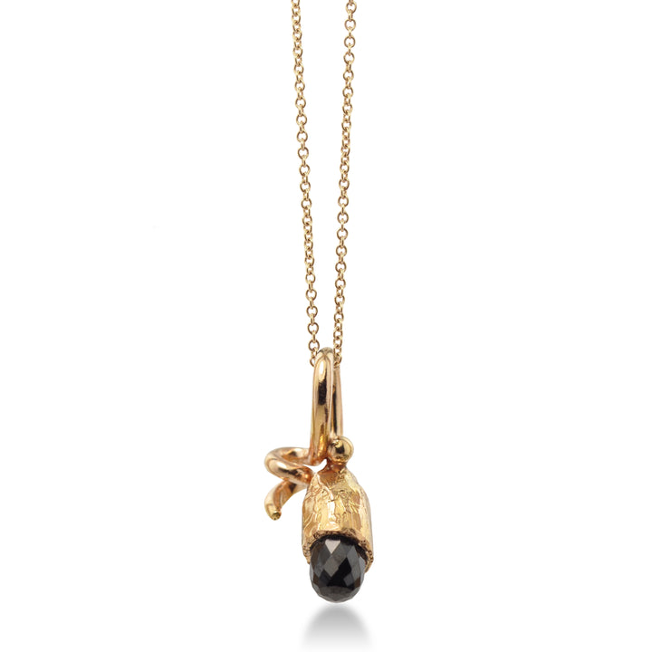 East Fourth Street Jewelry Rose Gold Pendant with Black Spinel. 18