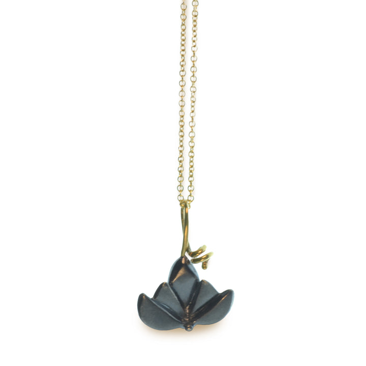 East Fourth Street Jewelry by Susan Crow, Lotus Pendant hand carved and cast in recycled 14kt yellow gold and sterling silver.