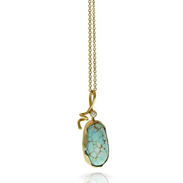 Turquoise, Diamond and 18kt Gold Vine Pendant