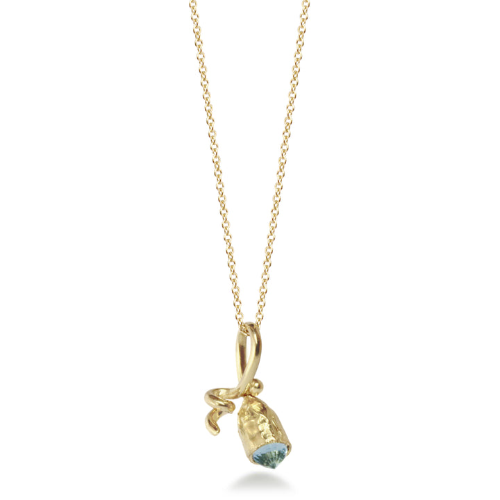 Tiny Pod Fairmined Gold Pendant with Aquamarine