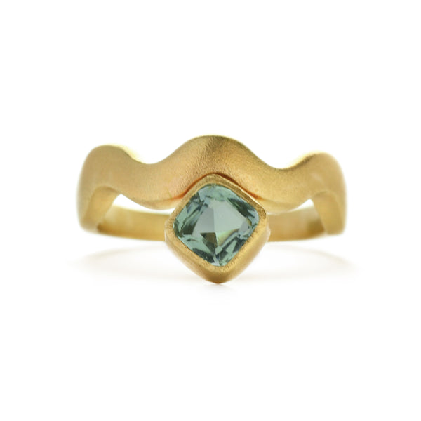 East Fourth Street Jewelry, Responsibly Sourced cushion cut Tanzanian aquamarine gemstone set in recycled 14kt yellow gold ring with a cashmere-soft brushed finish.