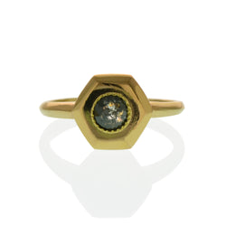 Original designed ring by Susan Crow for East Fourth Street Jewelry. 14kt recycled yellow gold with round salt and pepper diamond.