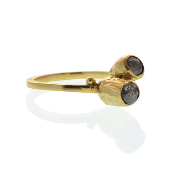 Gold and Rose Cut Diamond Double Pod Ring