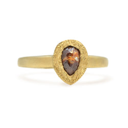 ONE OF A KIND TEAR-DROP OPAQUE DIAMOND IN 14KT YELLOW GOLD RING