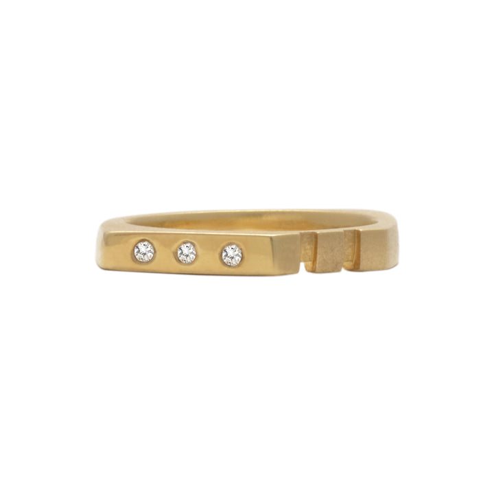 East Fourth Street Jewelry, Diamond and gold ring, flush set diamonds, low profile, modern and minimal in design. Hand carved and cast.